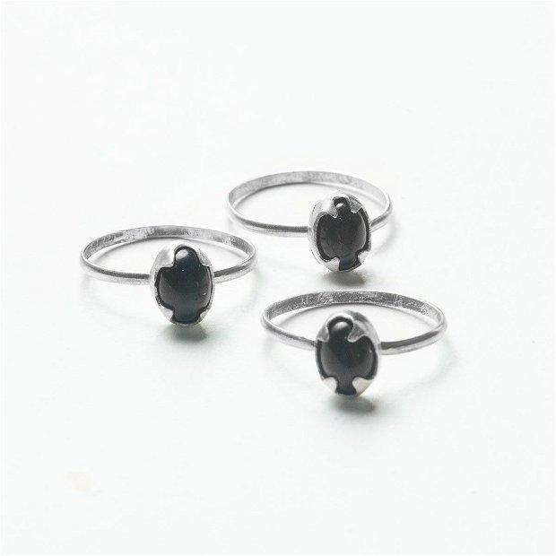 Set 3 Inele Argint 925 si Onix - Rezervat