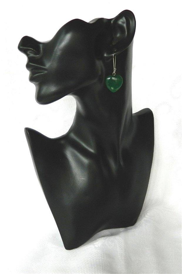 Cercei inimi din jad verde